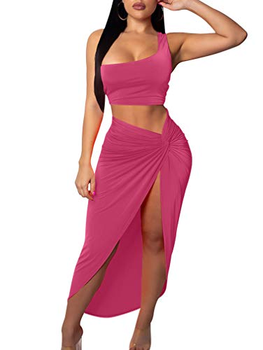 BEAGIMEG Women's Sexy One Shoulder Long Bodycon Slit Skirt 2 Pieces Dress Rose (High Split Maxi Dresses For Women)