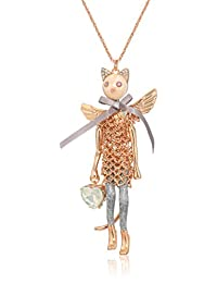 Betsey Johnson (GBG) Cat Angel Pendant Long Necklace, Pink, One Size