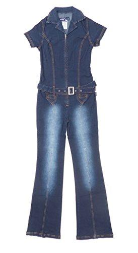 [Revolt Women's Short Sleeve Belted Denim Stretch Jumpsuit Dark Rinse Wash Size Large] (Stretch Jumpsuit)