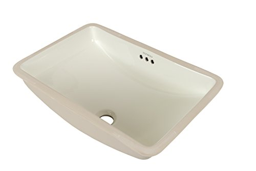 RONBOW Restyle 18 Inch Rectangle Undermount Ceramic Bathroom Vanity Vessel Sink in Biscuit 200532-BI Fontaine Glass Vessel Sink