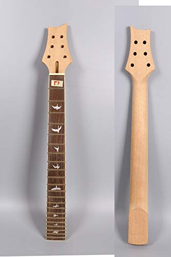 Yinfente Electric Guitar Neck Replacement 22 fret 25.5 inch Rosewood Fretboard Bird Inlay (25.5inch)