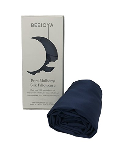- Beejoya Natural Silk Pillowcase, Hypoallergenic, Pure Mulberry Silk, Queen Size with Envelope Closure. Helps Prevent Bed Head, Wrinkles, and Dry Skin. (Queen, Midnight Navy)