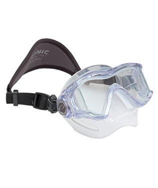 Oceanic Ion 3 Panoramic View Low Volume Scuba Diving Mask w/ Neoprene Strap, All Black