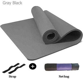 CXZA 15ミリメートルヨガマットノンスリップThicked NBRフィットネスジム185 * 90センチメートルヨガマットバッグパッドスポーツ包帯体操マットEsterilla Tapeteヨガ (色 : Gray black)