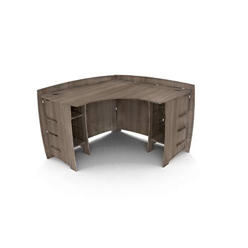 """Legare Furniture Grey Driftwood L-Shaped Corner Desk with Adjustable Shelves, 47"""" x 47"""""""
