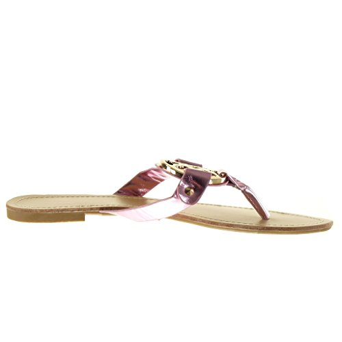 Angkorly - Scarpe da Moda sandali donna fibbia d'oro Tacco a blocco 1 CM - Rosa