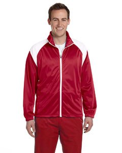 Harriton Mens Tricot Track Jacket>XL RED/WHITE M390 (Harriton Mens Tricot Track)