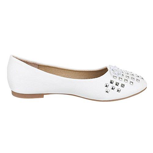 Kinder Schuhe, Z-617, BALLERINAS HALBSCHUHE MIT NIETEN Weiß