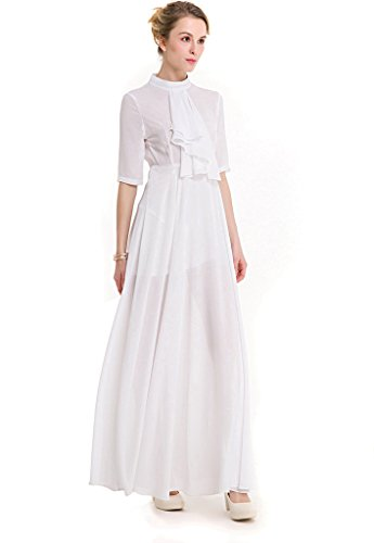 Ababalaya Frauen Elegantes Chiffon Hoher Hals Hoch Taille Kurzarm Runway Abendkleid
