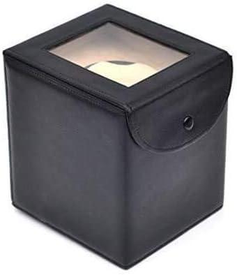 自動巻き上げワインダーボックス、レザーストレージ5モードプレミアムサイレントモーターピアノペイントブラックグロス-18×18×21CM