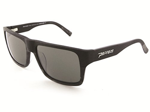 (Peppers KAHUNA Black Shiny Grey/Silver Flash Mirror Polarized Sunglasses)