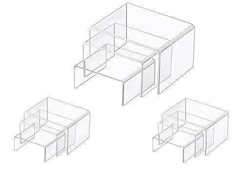 FlanicaUSA 9 Pieces Set - Clear Acrylic Display Riser Set, Acrylic Display Stand ... (Pieces Village)