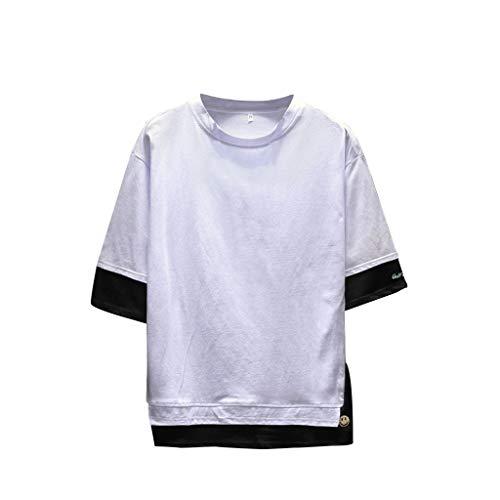 Stoota Men's Summer Henley Shirt,Casual Fashion Patchwork O-Neck Half Sleeve Top White -