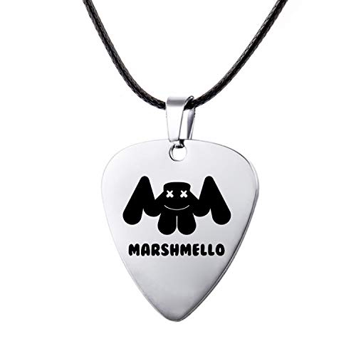 Beauty-OU Stainless Steel Engrave Pick Leather Pendant Necklace Marshmello Music Fans Souvenir Jewelry