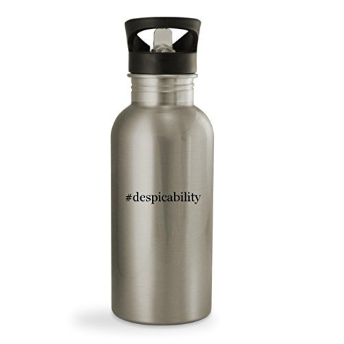 #despicability - 20oz Hashtag Sturdy Stainless Steel Water Bottle, Silver (Despicable Me 2 Agnes Unicorn Costume)