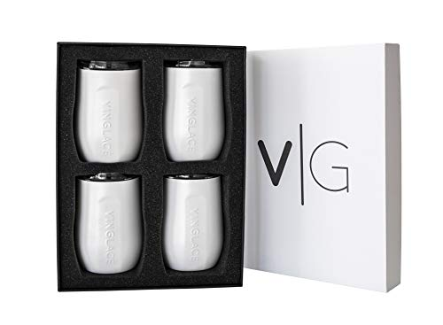 Vinglacé Stemless Wine Glass | Stainless Steel Outside, Glass Inside | Includes Spill Proof Lid | Double Walled, Vacuum Insulated | For Hot & Cold Beverage | Holds up to 10 oz | Set of 4 | White