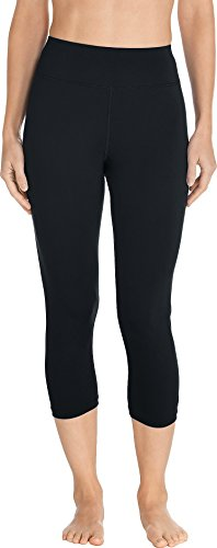 Coolibar UPF 50+ Women's Swim Capris - Sun Protective (Large - Black)
