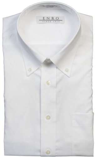 Enro Men's Button Down Collar Non- Iron Dress Shirt (17.5 34/35, White)