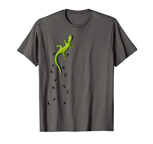 Cute Lizard Reptile With Tracks Climbing Gecko T-Shirt ()