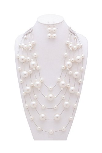 {CN0911 StyleNo1} WOMEN'S FASHIONABLE MULTI-LAYERED BIG PEARL NECKLACE AND EARRINGS SET