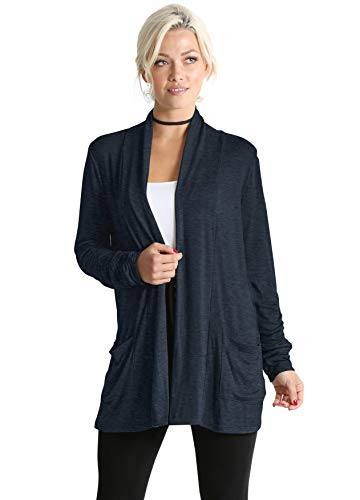 Long Sleeve Lightweight Cardigan Sweater for Women with Pockets - Made in USA (Size X-Large US 14-16, Heather Navy) - Cardigan Wrap Oversized