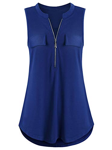 (Sleeveless Blouses for Women Work Ladies Tank Tops Band Collar Cute Zip up V Neck Casual Tunic Shirts with Fake Pocket Summer Fashion Clothes Royal Blue S)