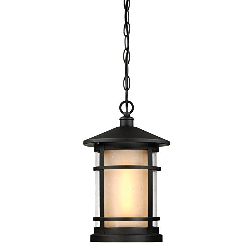 Westinghouse 6312600 Albright One-Light Outdoor Pendant with Amber Frosted and Clear Seeded Glass, Textured Black