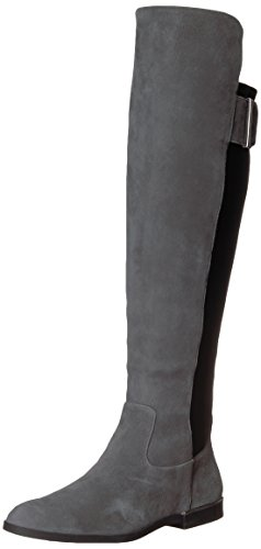 (Calvin Klein Women's Priya Over The Over The Knee Boot, Slate/Black Leather/Stretch, 10 Medium US)