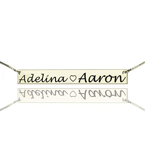 Custom 2 Name Bar Necklace Costume Double Names Necklaces for Lovers Couple Silver Nameplate Suspension Chain Girl Friend Gift(Silver 20) ()
