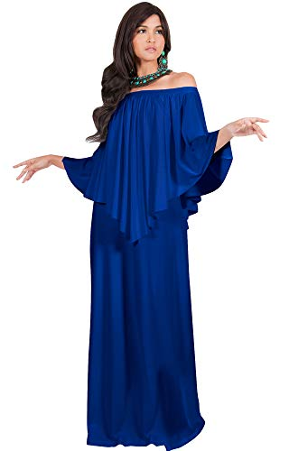 KOH KOH Petite Womens Long Strapless Shoulderless Flattering Cocktail Evening Off The Shoulder Cold Sexy Evening Flowy Formal Slimming Gown Gowns Maxi Dress Dresses, Cobalt/Royal Blue S 4-6