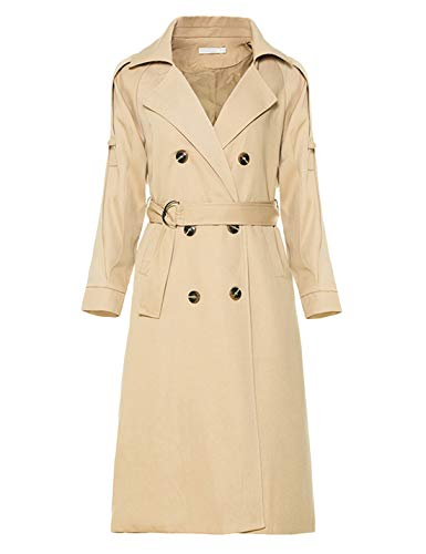 Yeokou Women's Causal Double Breasted Spring Fall Long Trench Coat with Belt (Small, Khaki001)