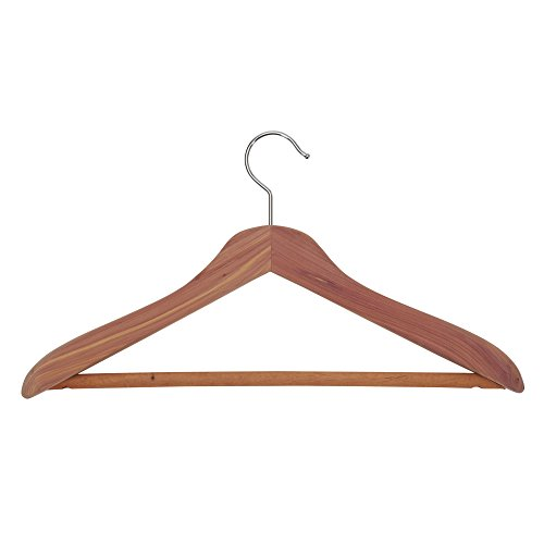'Household Essentials 26507 CedarFresh Deluxe Red Cedar Wood Coat Hanger with Fixed Bar' from the web at 'https://images-na.ssl-images-amazon.com/images/I/317UJyRdHpL.jpg'
