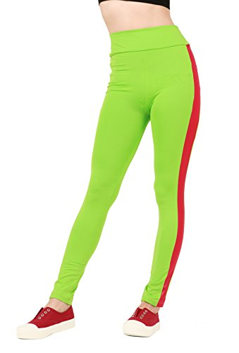 WeHeart Women's High Waist Striped YOGA Gym Pants Tights Fitness Leggings Yellow-Green Red M (Green And Red Tights)
