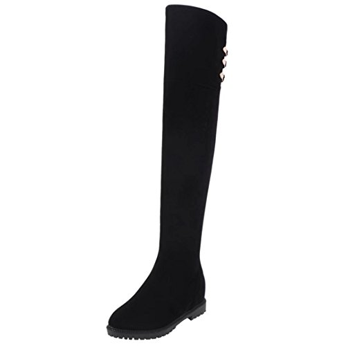 AIYOUMEI Damen Overknee Stiefel mit Innerhalb Der Zunahme Bequem Langschaftstiefel Winter Warm Schuhe Schwarz