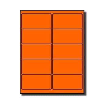 Fluorescent Orange, 4 x 2 Removable Rectangle Laser Labels//Stickers 1000 Labels Per Case