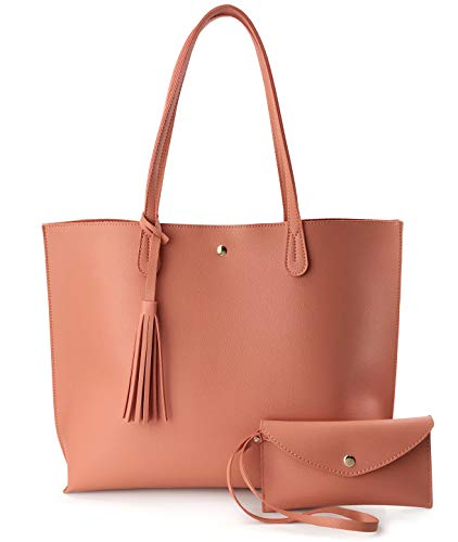 Minimalist Clean Cut Pebbled Faux Leather Tote Womens Shoulder Handbag (Coral) -