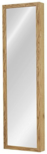 Oak Mirror Jewelry Armoire - Plaza Astoria Over The Door/Wall-Mount Jewelry Armoire with Full Length Dressing Mirror and Vanity Mirror for Earrings, Necklaces and Rings, Oak