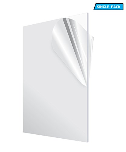 AdirOffice Acrylic Plexiglass Sheet - Transparent, Plastic Sheeting - Durable, Water Resistant & Weatherproof - Multipurpose & Ideal For Countless Uses 12''x24'' 1/8'' thick, Clear