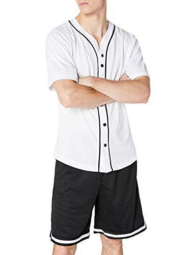 Urban Classics Men's Baseball Jersey Casual Sports, Short Sleeves T-Shirt with Buttons and Stripes, V-Neck, Standard Fit…