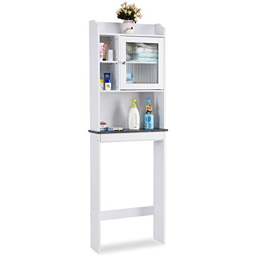 Giantex Over-the-Toilet Space Saver Collette Bathroom Spacesaver with Storage Rack Cabinet, White & Black by Giantex