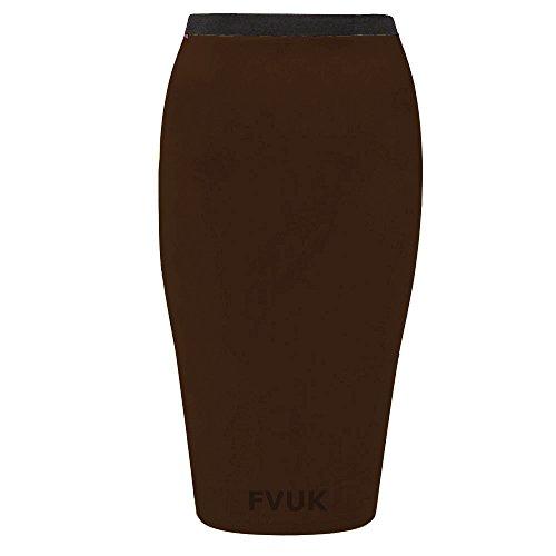 bureau mi Jupe longue Taille jupe Funky en Jersey Boutique Chocolat moulante 36C50 crayon Stretch q1H6w4pnz
