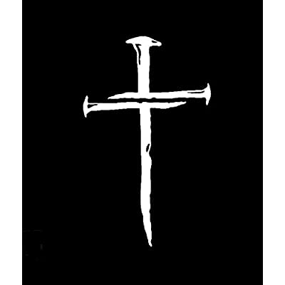 Cross of Nails NOK Decal Vinyl Sticker |Cars Trucks Vans Walls Laptop|White|5.5 x 3.5 in|NOK468: Kitchen & Dining