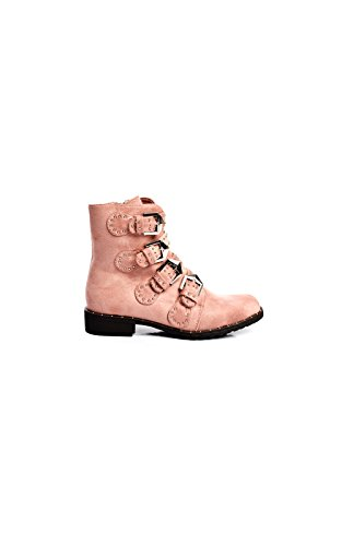 Buckle Ikrush Suede Alexis Studded Ankle Pink Faux Womens Boots q417St