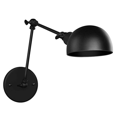 Fuloon Vintage Retro Industrial Style Wrought Iron Long Arm Pole Wall Lamp Swing Arm Wall Mount Light Sconces (bulbs not included) (Black) (Arm Vintage Swing)