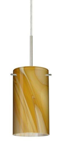 Besa Lighting 1BT-4404HN-SN 1X50W E12 Stilo 7 Pendant with Honey Glass, Satin Nickel Finish