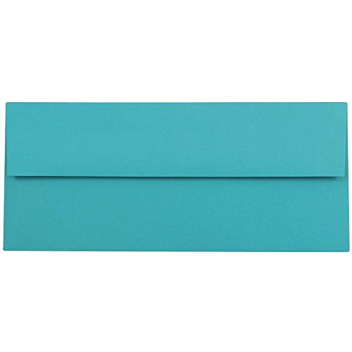 "JAM Paper #10 Business Envelope - 4 1/8"" x 9 1/2"" - Brite Hue Sea Blue Recycled - 50/pack"
