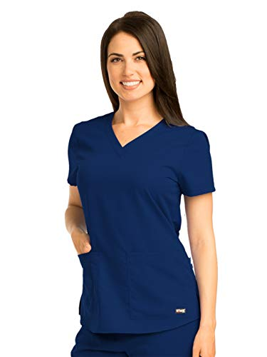 (Grey's Anatomy Women's Two Pocket V-Neck Scrub Top with Shirring Back, Indigo, Small)
