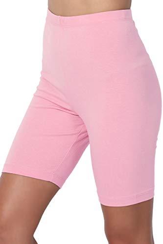 Cotton Pink Short - TheMogan Women's Mid Thigh Cotton High Waist Active Short Leggings Dusty Pink XL