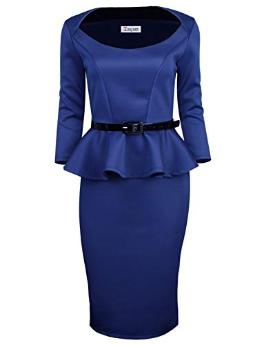 TAM WARE Womens Classic Long Sleeve Belted Peplum Midi Dress TWD6163-NAVY-US S