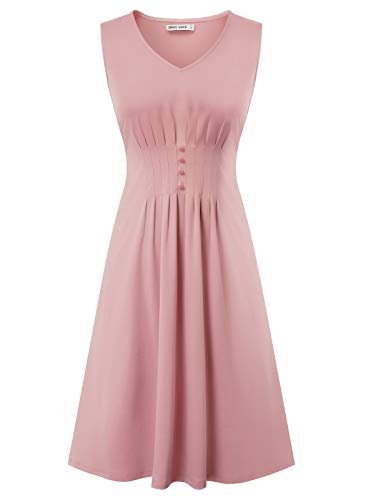 Women Vintage Sleeveless Formal Cocktail Swing Dress Plus Size Pink XXL 1